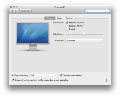 You select the resolution you want to use when mirroring you Mac's screen in the Displays preference pane.
